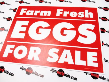 Farm Fresh Eggs Red Yard Sign Image