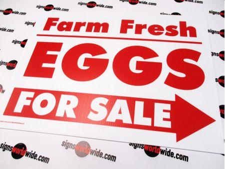 Farm Fresh Eggs Right Arrow Sign Image