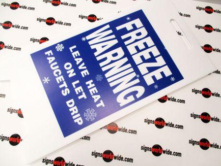 Freeze warning laid flat sign image