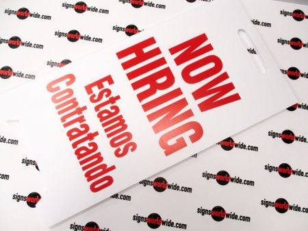 Now hiring laid flat sign image