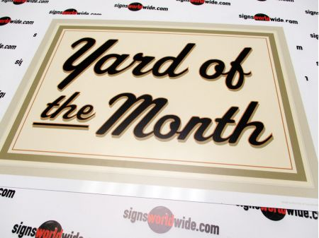 Yard of the Month Beige Aluminum Sign 1