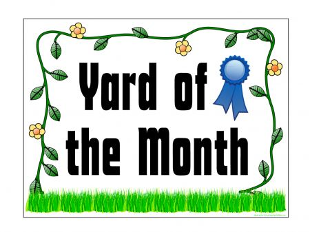 Yard of the Month flower border sign image