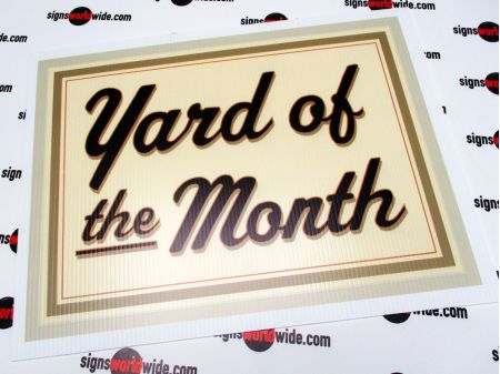 Yard of the Month beige sign image