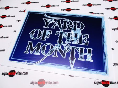 Yard of the Month blue sign image