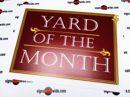 Yard of the Month maroon sign image