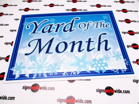 Yard of the Month snowflake sign image
