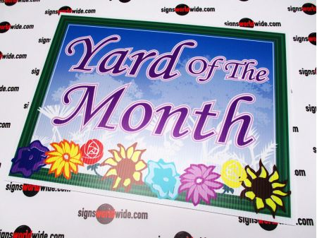 Yard of the Month floral sign image