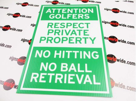 Attention Golfers Yard Sign Image 1