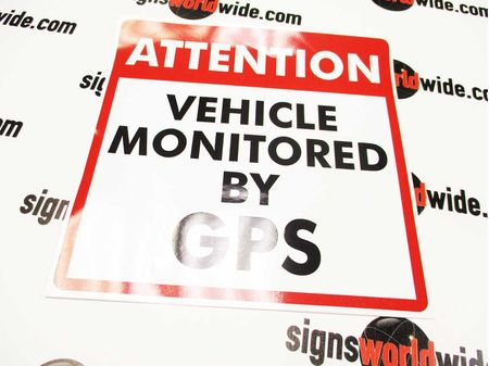 Attention Vehicle Monitored by GPS Sign Image No Transfer Tape