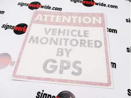 Vehicle Monitored by GPS Decal Image With Transfer Tape Applied