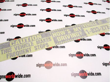 Caution Frequent Stops Hows My Driving Decal Image With Transfer tape 1