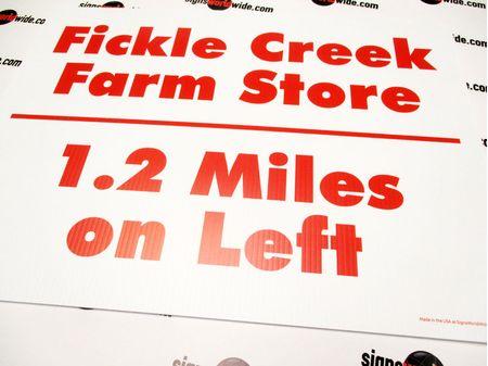 Fickle Creek Farm 1-2 miles sign image 1