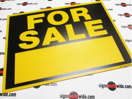 For Sale Yellow Coroplast Sign Image 1