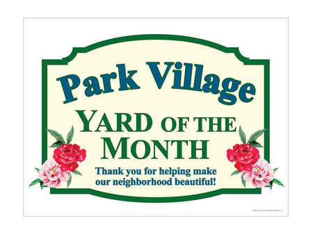 Park Village Yard of the Month sign image
