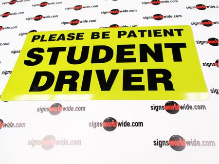 Please Be Patient Student Driver Car Sign Image