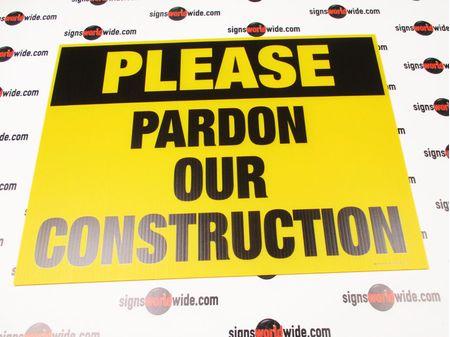 Please Pardon Our Construction Yard Sign Image