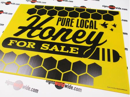 Pure Local Honey For Sale Coroplast Sign Image
