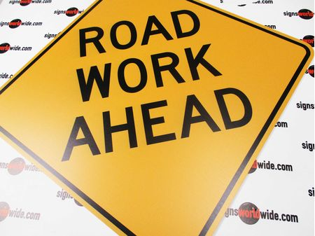 Road Work Ahead Diamond Sign 36