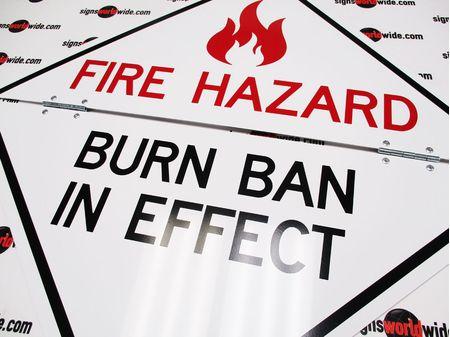 Traffic Burn Ban in Effect 2 folding sign Non-Reflective 1