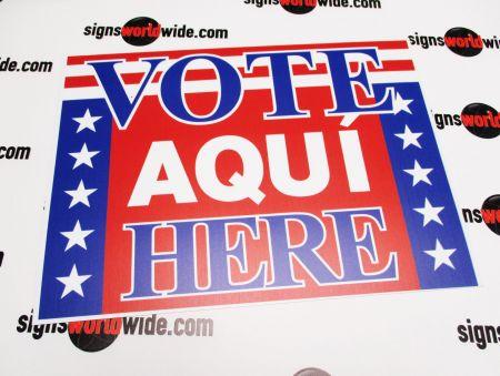 Vote Aqui Here polystyrene sign image