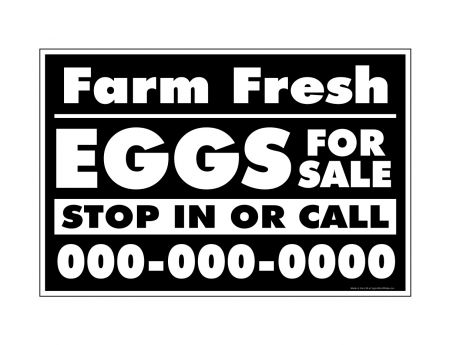 Farm Fresh Eggs B&W phone number 12x18 sign image