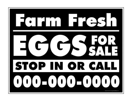 Farm Fresh Eggs B&W phone number sign image
