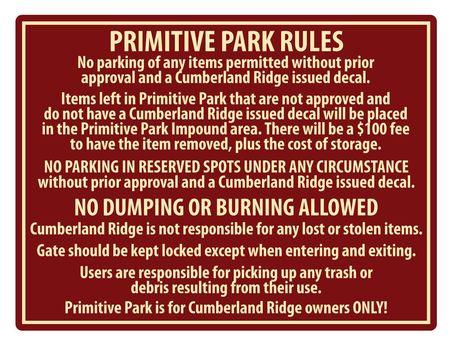 Cumberland Ridge Park Rules Sign Image