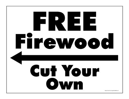 Free Firewood Left arrow yard sign image