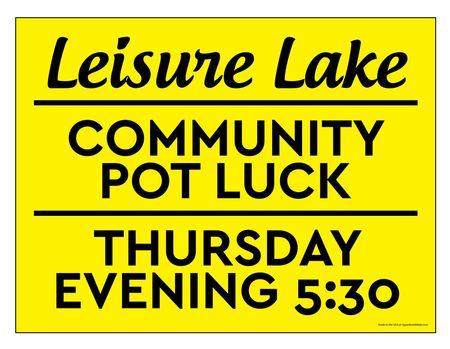 Leisure Lake Community Pot Luck yellow sign image