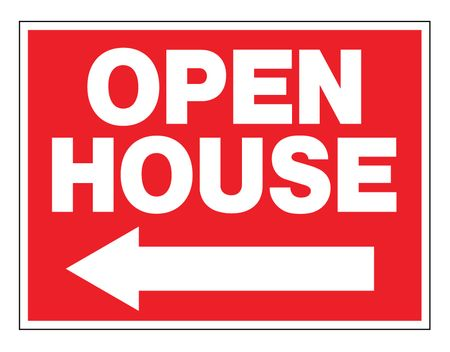 Open House Left Arrow Sign Image