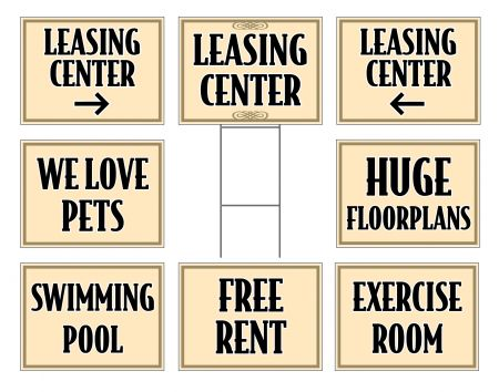 Beige apartment signs image