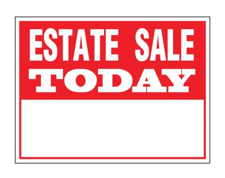 Estate sale today sign image