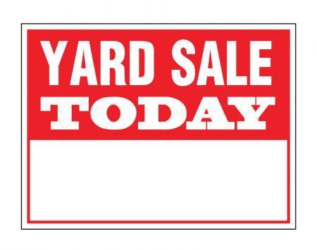 Yard sale today sign image