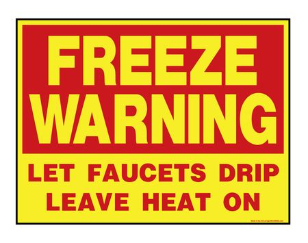 Freeze Warning R&Y sign image