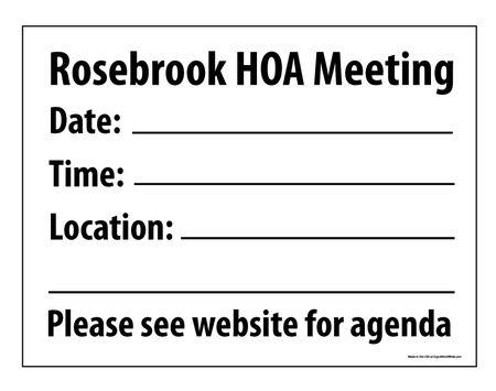 Rosebrook HOA Meeting sign image