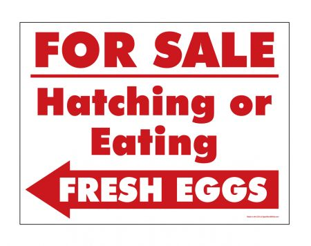 Eating or Hatching Eggs Red and White sign image
