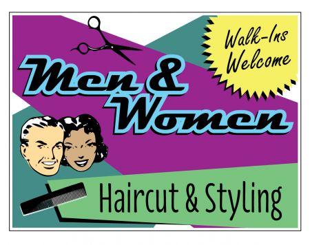 Mens & Women Haircut sign image