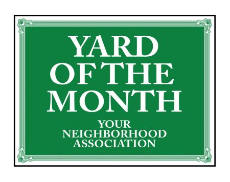 Yard of the Month Neighborhood Association sign image