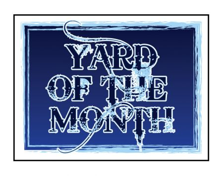 Blue Yard of the Month sign image