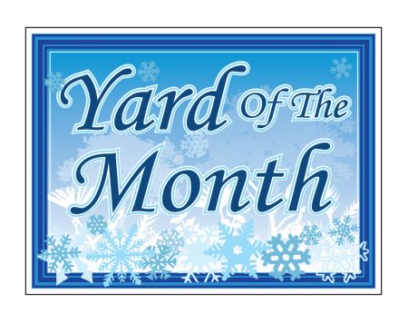 Yard of the Month snowflakes sign image