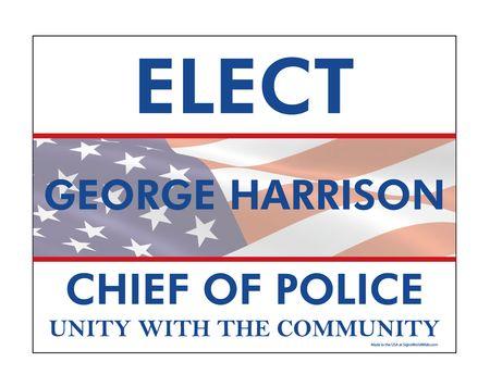 Elect George Harrison single yard sign image