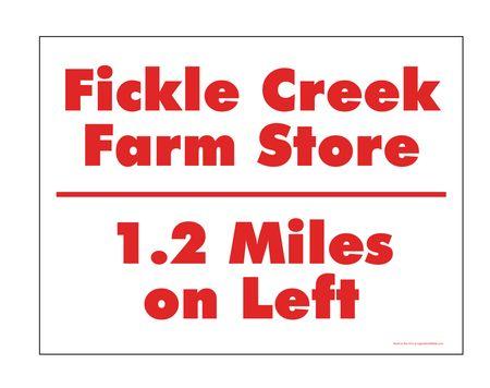 Fickle Creek 1.2 Miles sign image