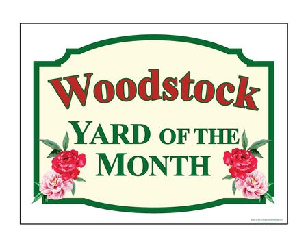 Woodstock yard of the month sign