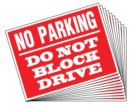 Ten No Parking Do Not Block Signs Image