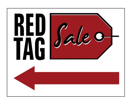 Red Tag Sale Left Arrow sign