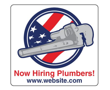 Magnetic Now Hiring Plumbers 13x14 Sign Image