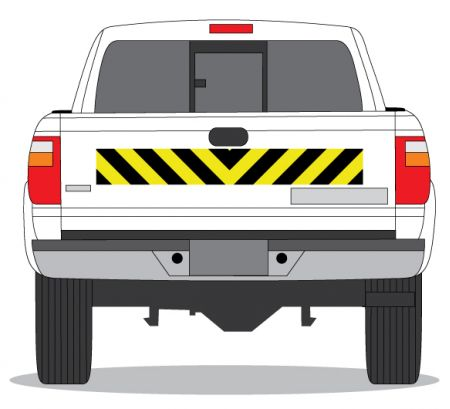 Decal Caution Stripe 6x45 on tailgate