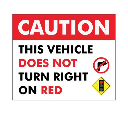 This vehicle does not turn right on red decal image