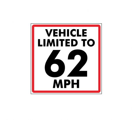 This vehicle limited to 62mph decal image