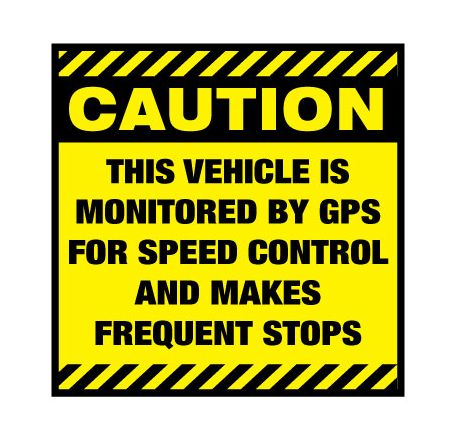 Caution Frequent Stops 12x12 decal image
